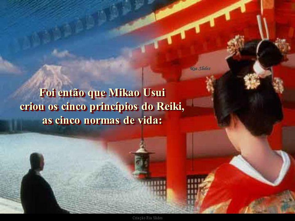 Foi então que Mikao Usui criou os cinco princípios do Reiki, as cinco normas de vida: