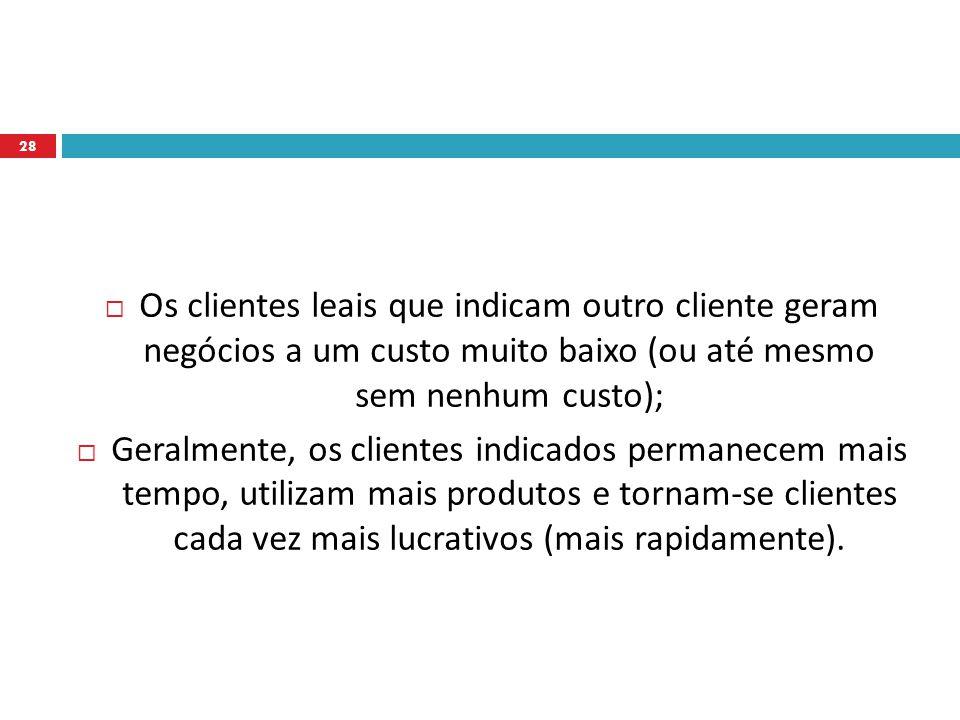 Os clientes leais que indicam outro cliente geram negócios a um custo muito baixo (ou até mesmo sem nenhum custo);