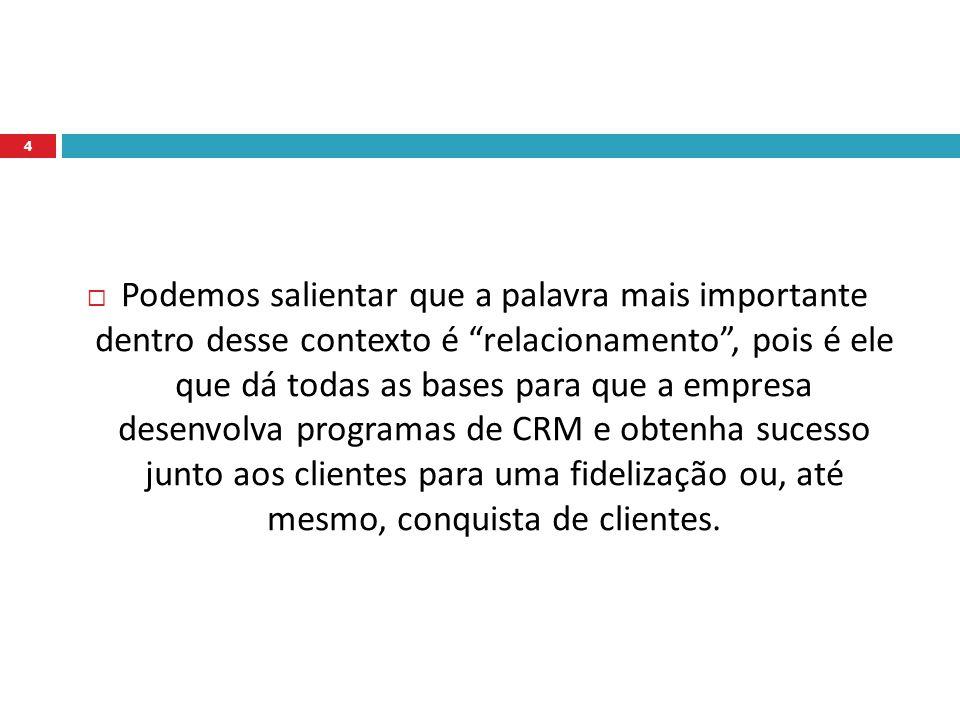 Podemos salientar que a palavra mais importante dentro desse contexto é relacionamento , pois é ele que dá todas as bases para que a empresa desenvolva programas de CRM e obtenha sucesso junto aos clientes para uma fidelização ou, até mesmo, conquista de clientes.