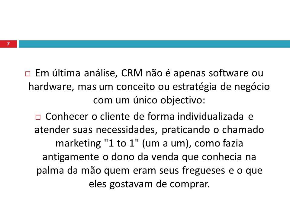 Em última análise, CRM não é apenas software ou hardware, mas um conceito ou estratégia de negócio com um único objectivo: