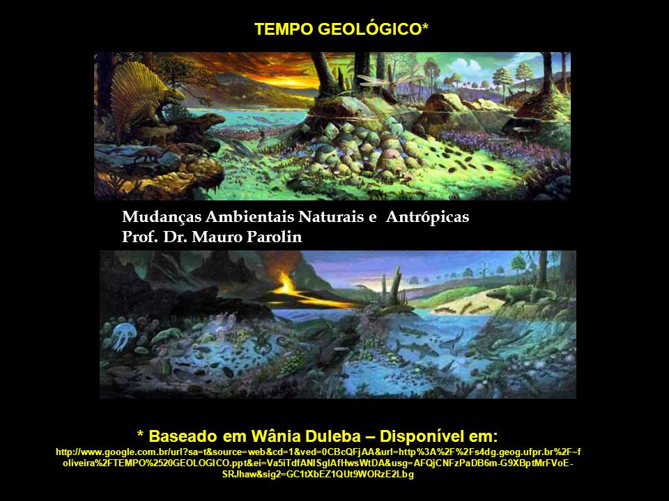 TEMPO GEOLÓGICO* Mudanças Ambientais Naturais e Antrópicas. Prof. Dr. Mauro Parolin.