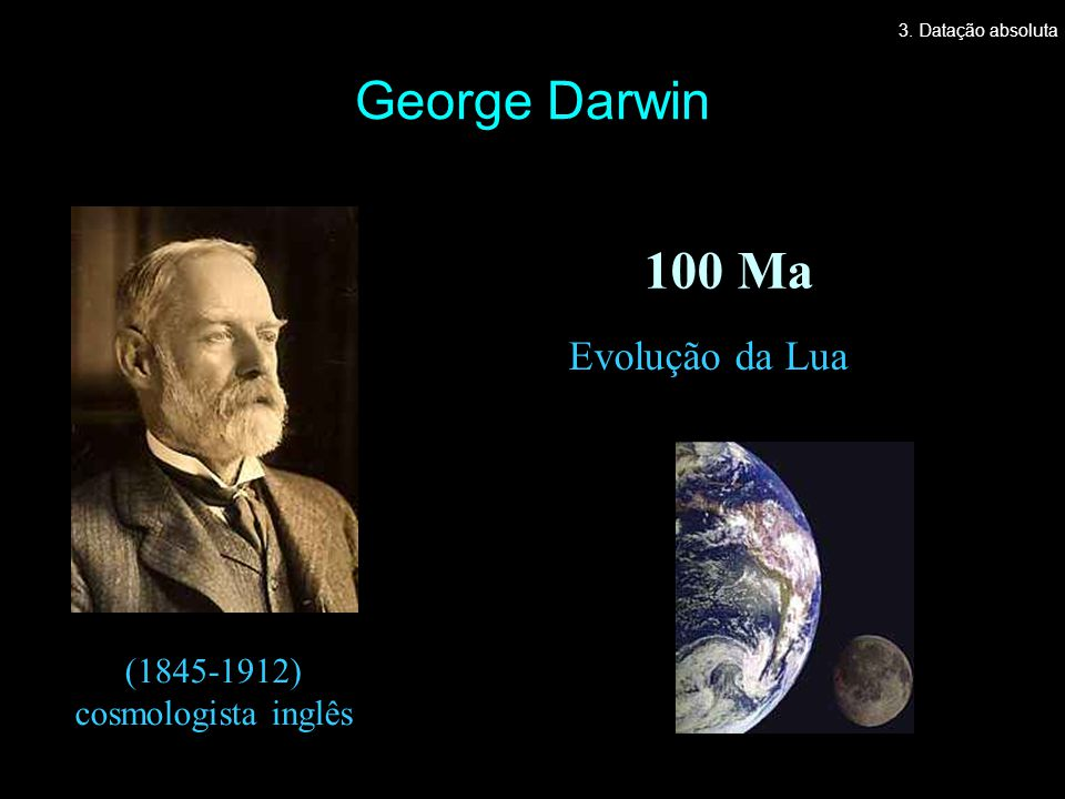 George Darwin 100 Ma Evolução da Lua (1845-1912) cosmologista inglês