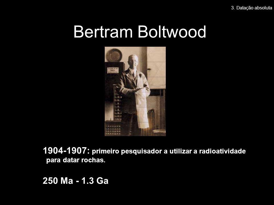 3. Datação absoluta Bertram Boltwood. 1904-1907: primeiro pesquisador a utilizar a radioatividade.