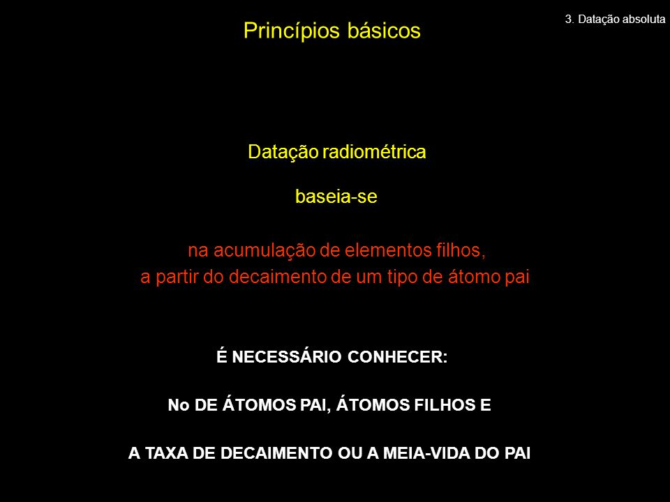 Princípios básicos Datação radiométrica baseia-se