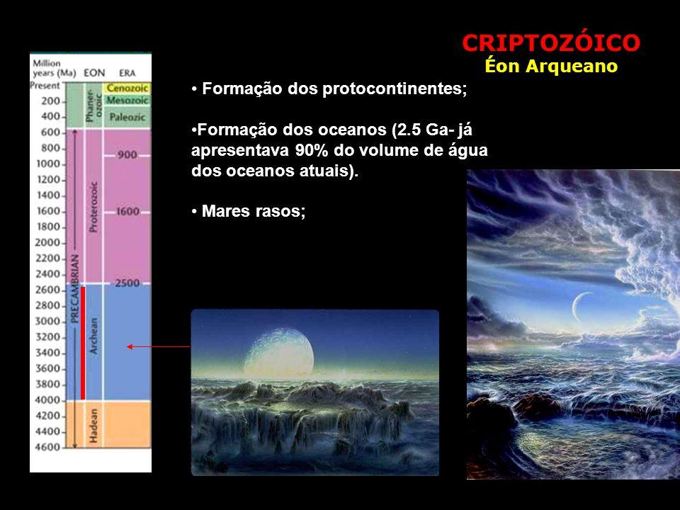 CRIPTOZÓICO Éon Arqueano Formação dos protocontinentes;
