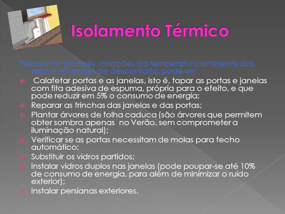 Isolamento Térmico Para evitar grandes variações da temperatura ambiente das salas e situações de desconforto, pode-se: