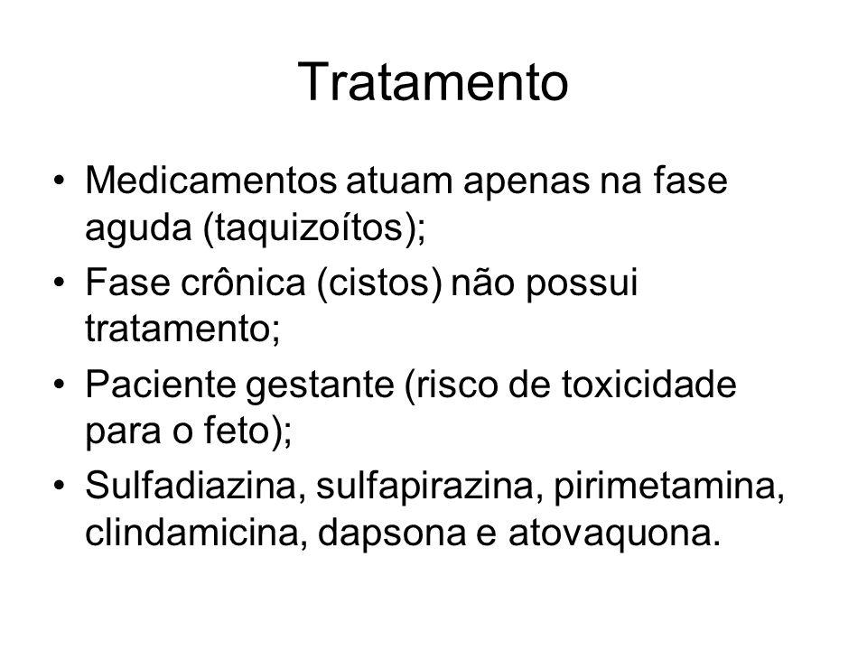 Tratamento Medicamentos atuam apenas na fase aguda (taquizoítos);