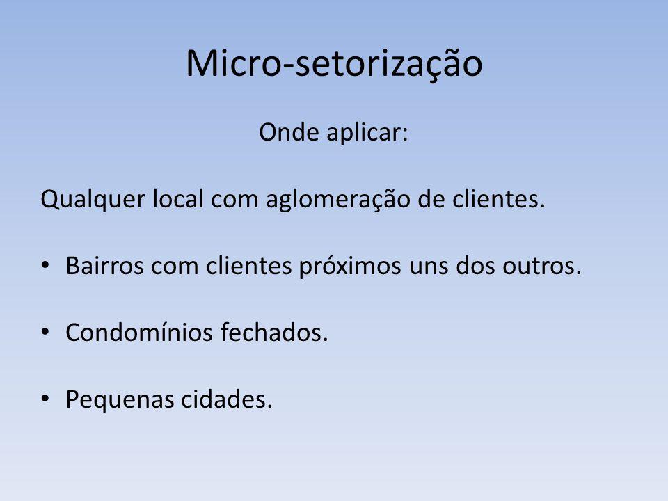 Micro-setorização Onde aplicar: