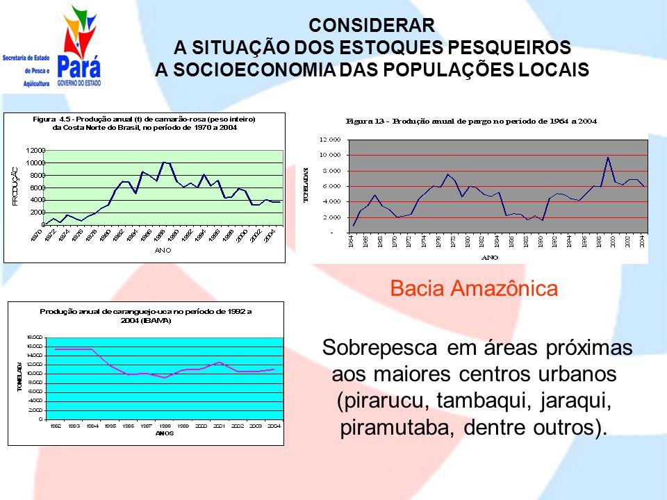 CONSIDERAR A SITUAÇÃO DOS ESTOQUES PESQUEIROS. A SOCIOECONOMIA DAS POPULAÇÕES LOCAIS. Bacia Amazônica.