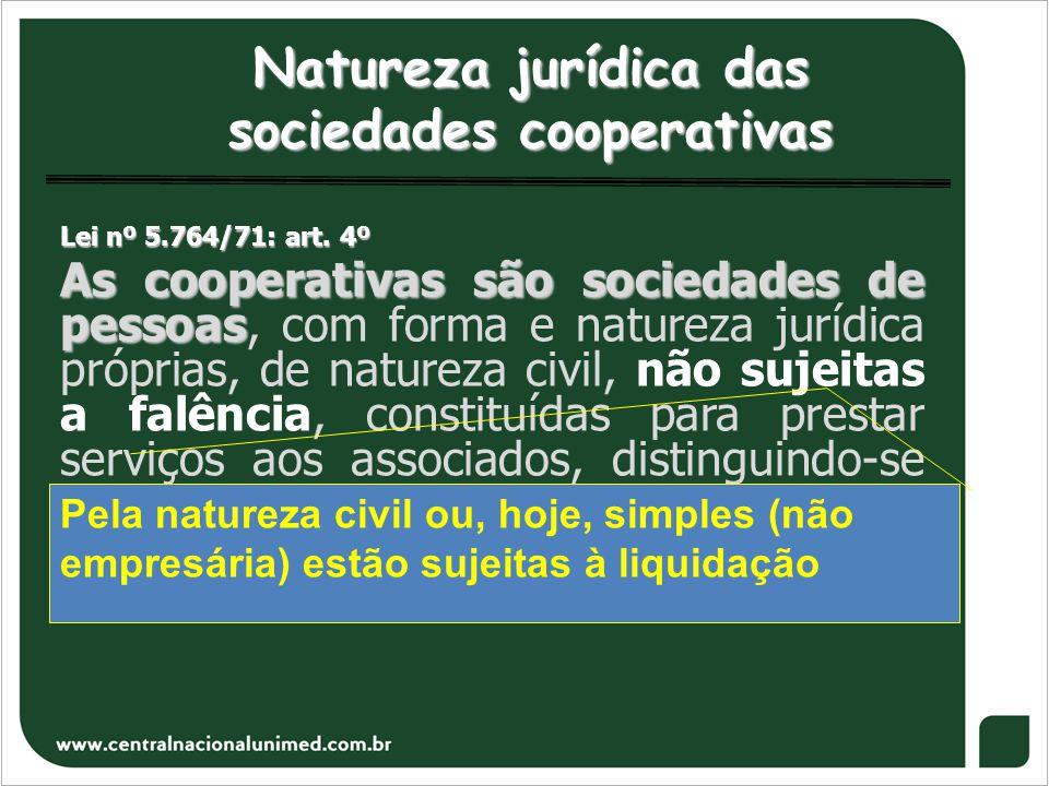 Natureza jurídica das sociedades cooperativas