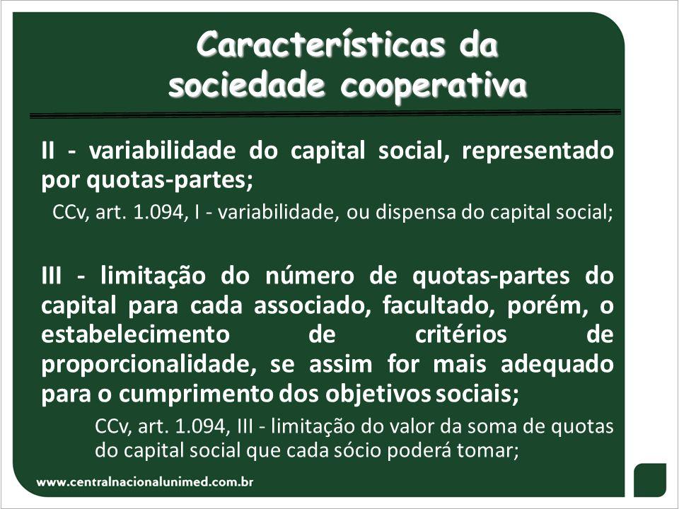 Características da sociedade cooperativa