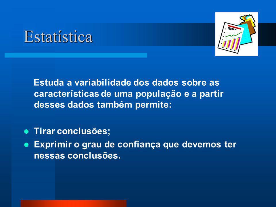 Estatística Estuda a variabilidade dos dados sobre as características de uma população e a partir desses dados também permite:
