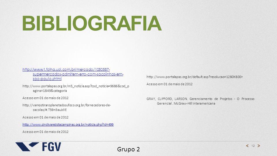 Bibliografia http://www1.folha.uol.com.br/mercado/1050587- supermercados-admitem-erro-com-sacolinhas-em- sao-paulo.shtml.