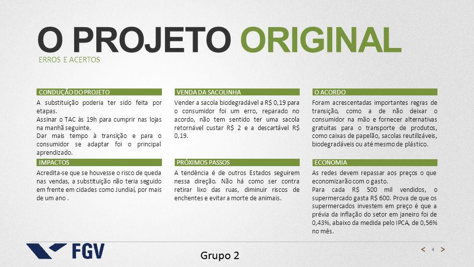 O projeto Original Grupo 2 Erros e acertos Condução do projeto