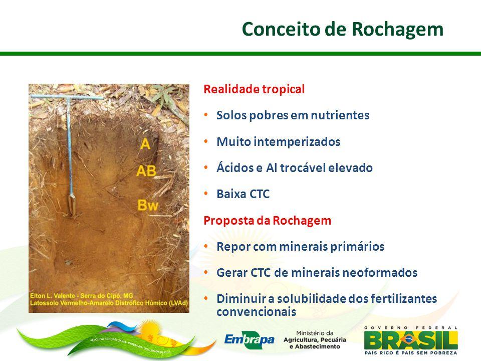 Conceito de Rochagem Realidade tropical Solos pobres em nutrientes