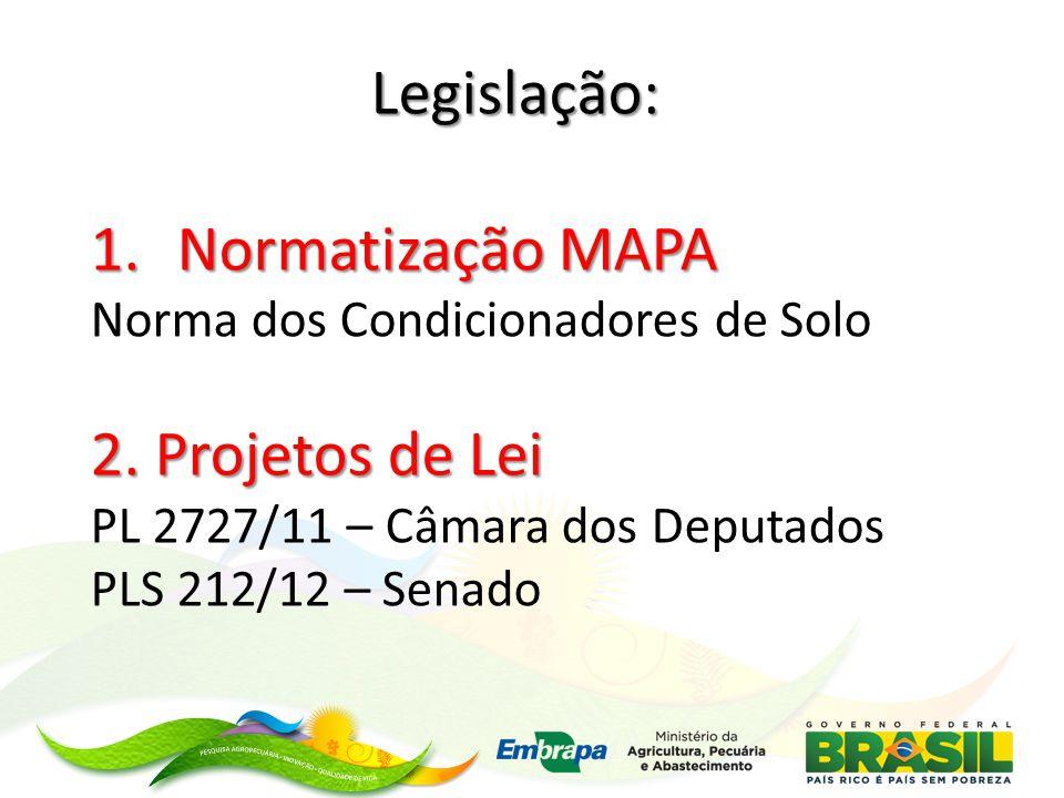 Legislação: Normatização MAPA 2. Projetos de Lei