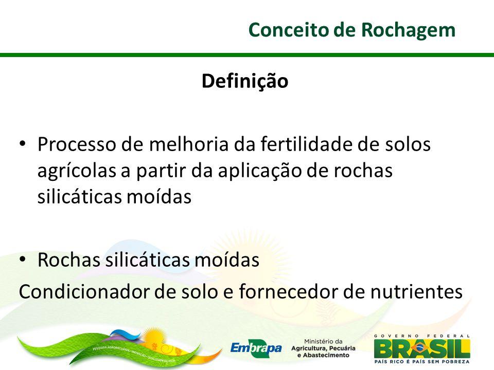 Conceito de Rochagem Definição. Processo de melhoria da fertilidade de solos agrícolas a partir da aplicação de rochas silicáticas moídas.