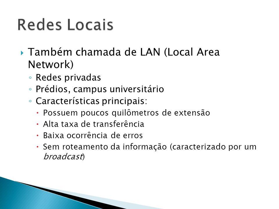 Redes Locais Também chamada de LAN (Local Area Network) Redes privadas