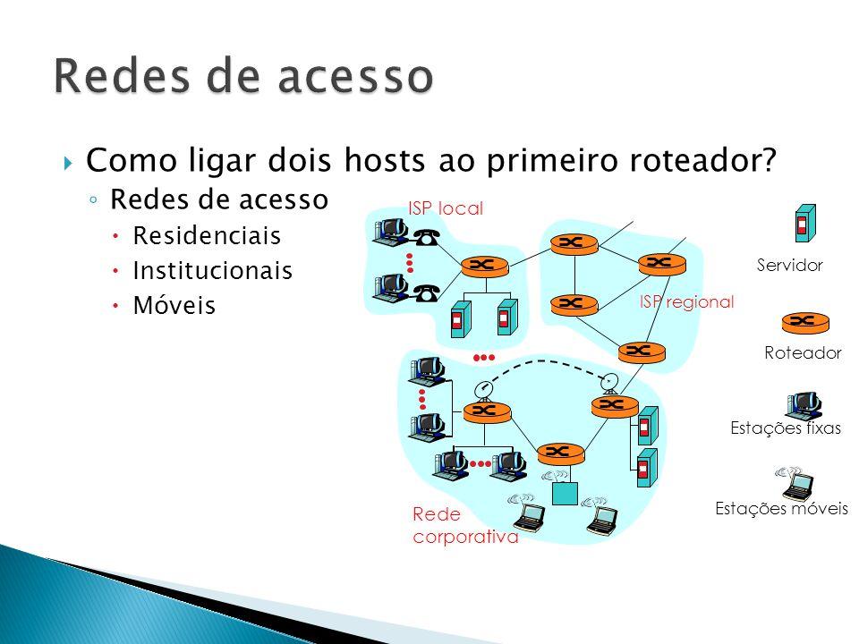 Redes de acesso Como ligar dois hosts ao primeiro roteador