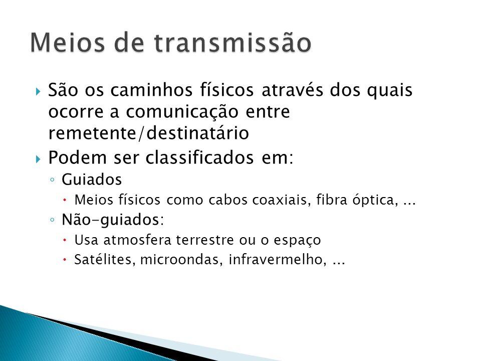 Meios de transmissão São os caminhos físicos através dos quais ocorre a comunicação entre remetente/destinatário.