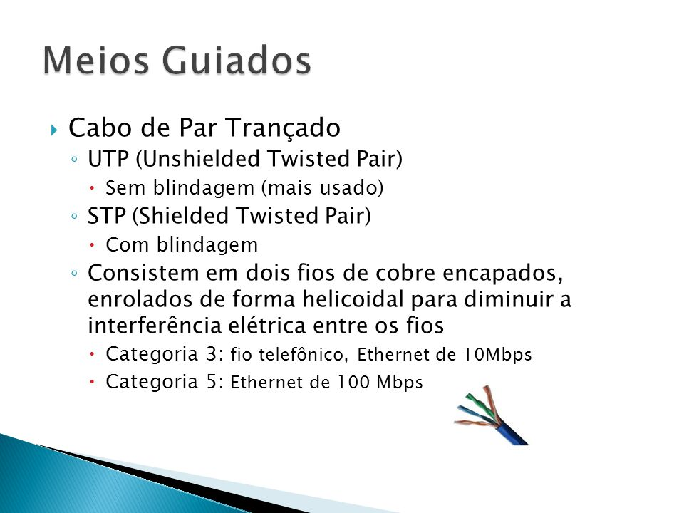 Meios Guiados Cabo de Par Trançado UTP (Unshielded Twisted Pair)