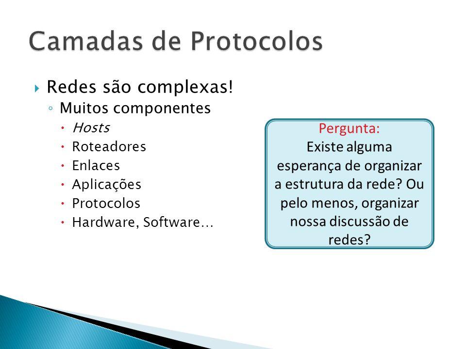 Camadas de Protocolos Redes são complexas! Pergunta: