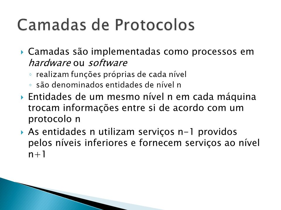 Camadas de Protocolos Camadas são implementadas como processos em hardware ou software. realizam funções próprias de cada nível.