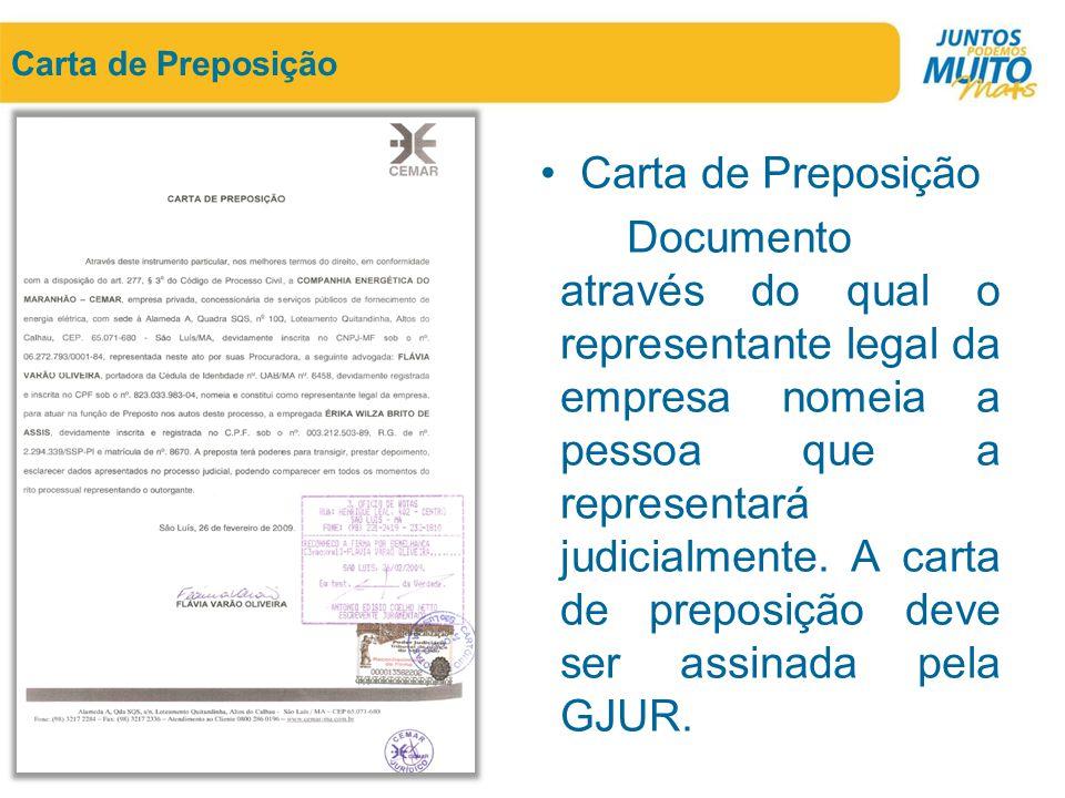 Carta de Preposição Carta de Preposição.