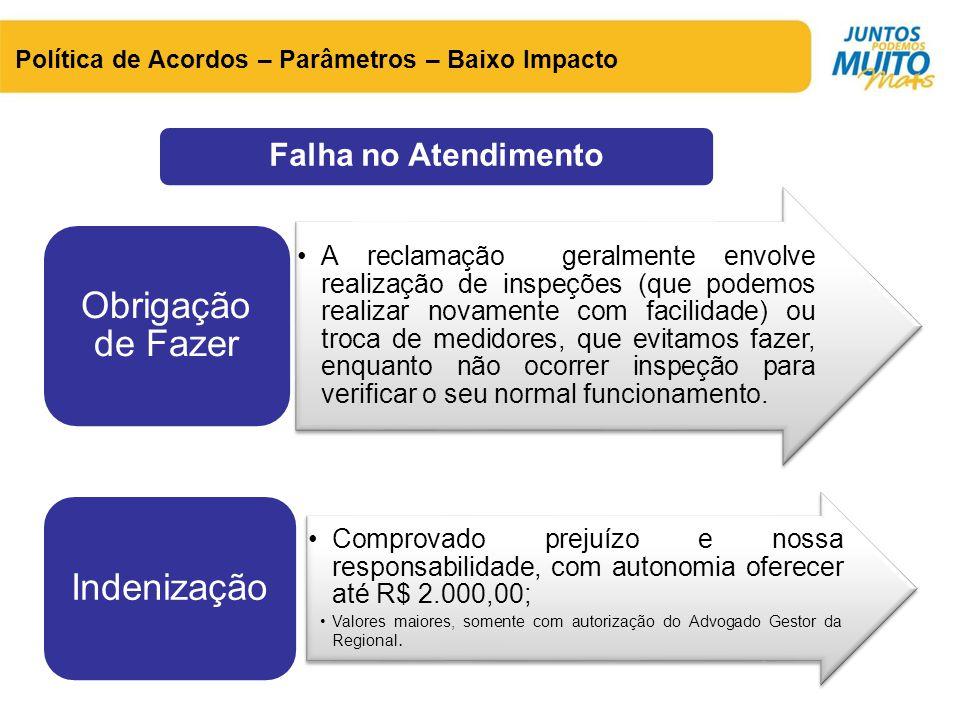 Política de Acordos – Parâmetros – Baixo Impacto