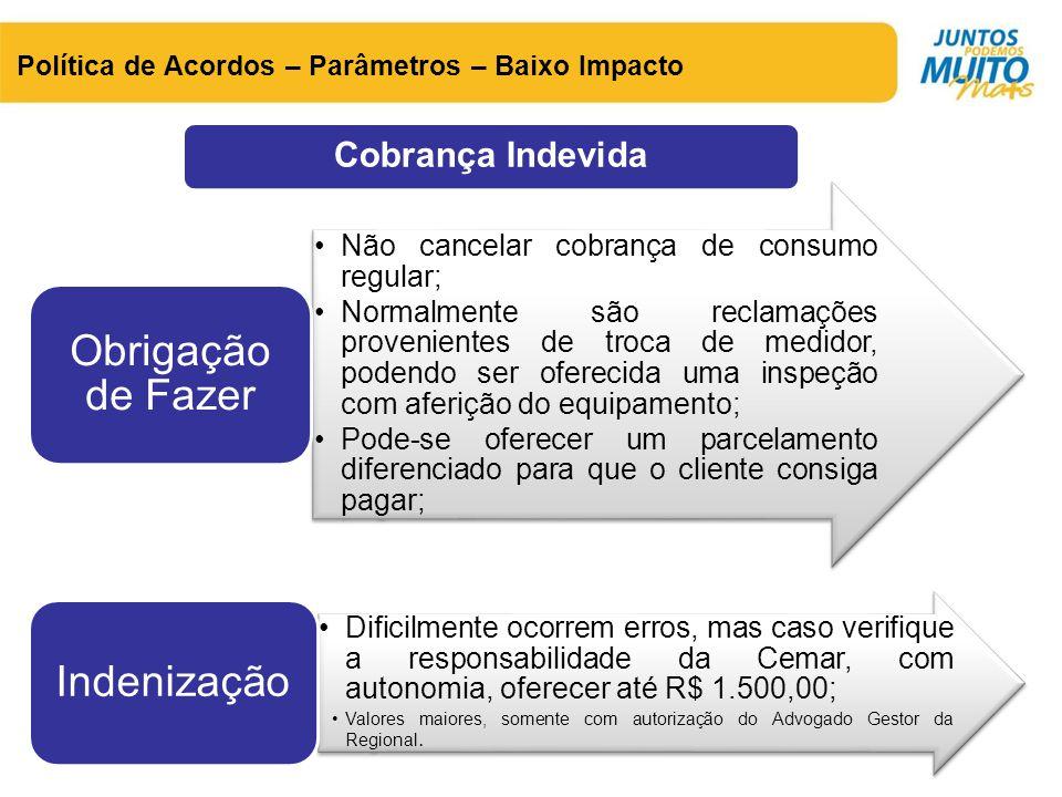 Cobrança Indevida Não cancelar cobrança de consumo regular;