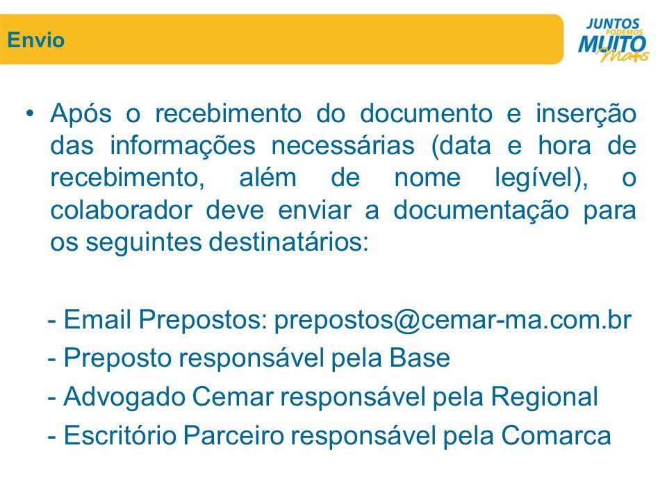 - Email Prepostos: prepostos@cemar-ma.com.br