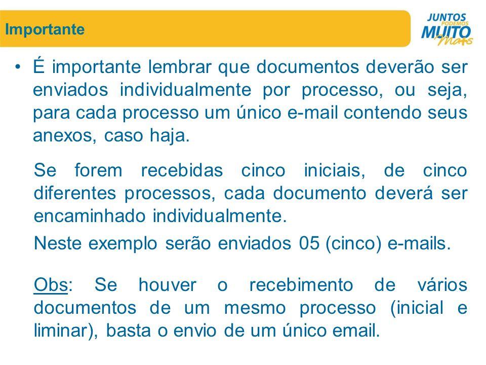Neste exemplo serão enviados 05 (cinco) e-mails.