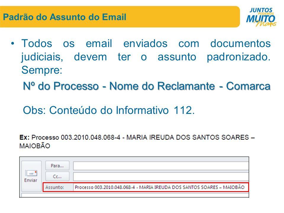 Padrão do Assunto do Email