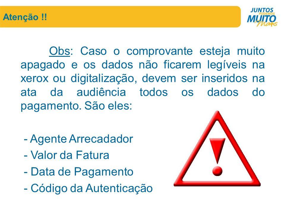 - Código da Autenticação