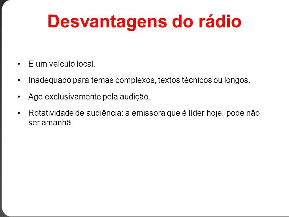 Desvantagens do rádio É um veículo local.