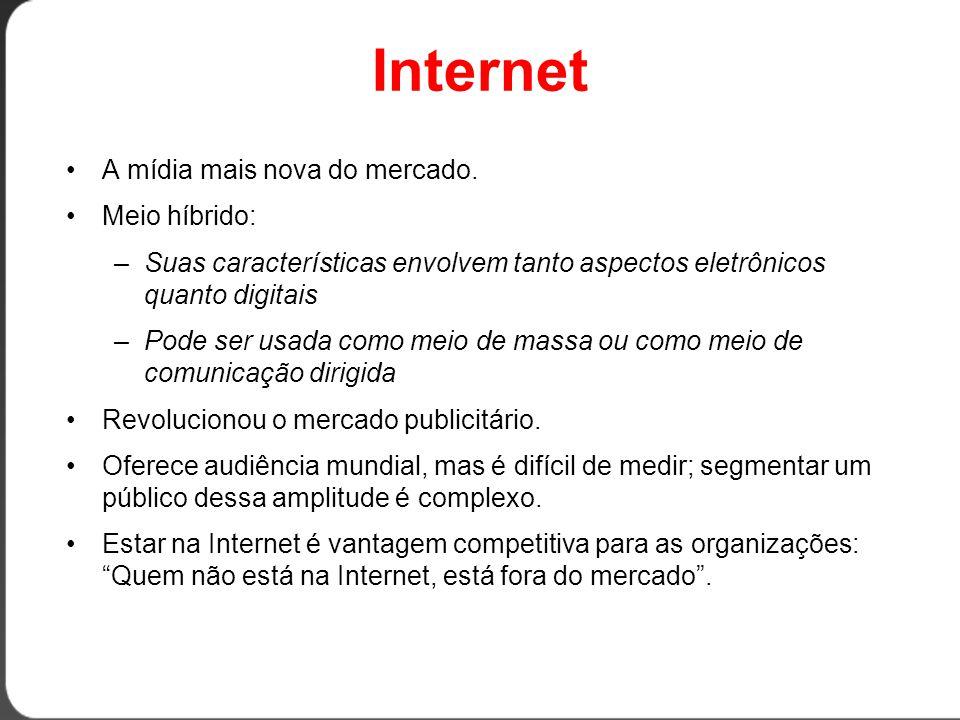 Internet A mídia mais nova do mercado. Meio híbrido: