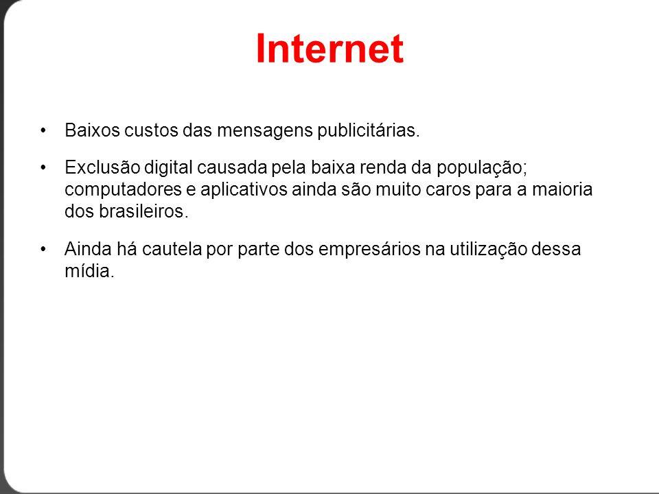 Internet Baixos custos das mensagens publicitárias.