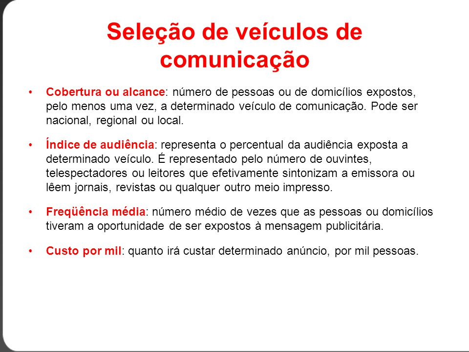 Seleção de veículos de comunicação