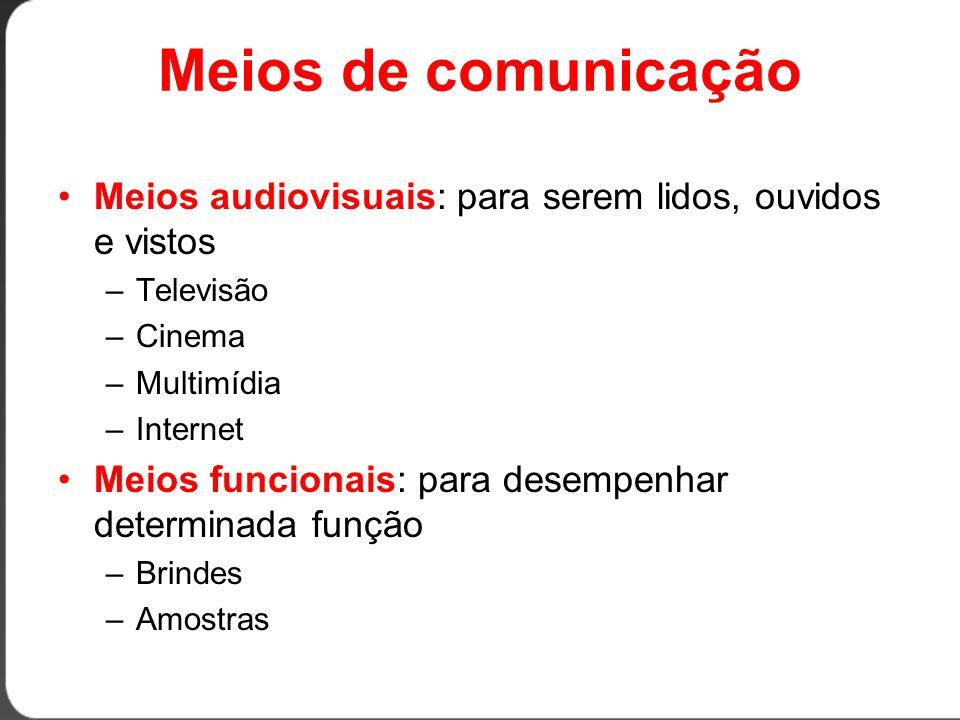 Meios de comunicação Meios audiovisuais: para serem lidos, ouvidos e vistos. Televisão. Cinema. Multimídia.