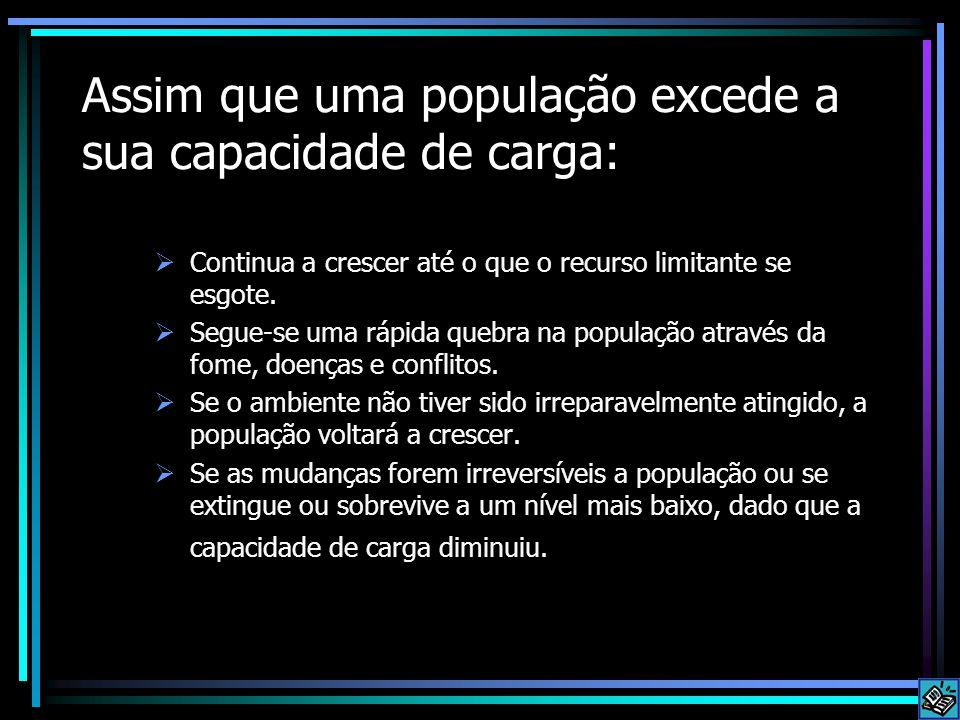 Assim que uma população excede a sua capacidade de carga:
