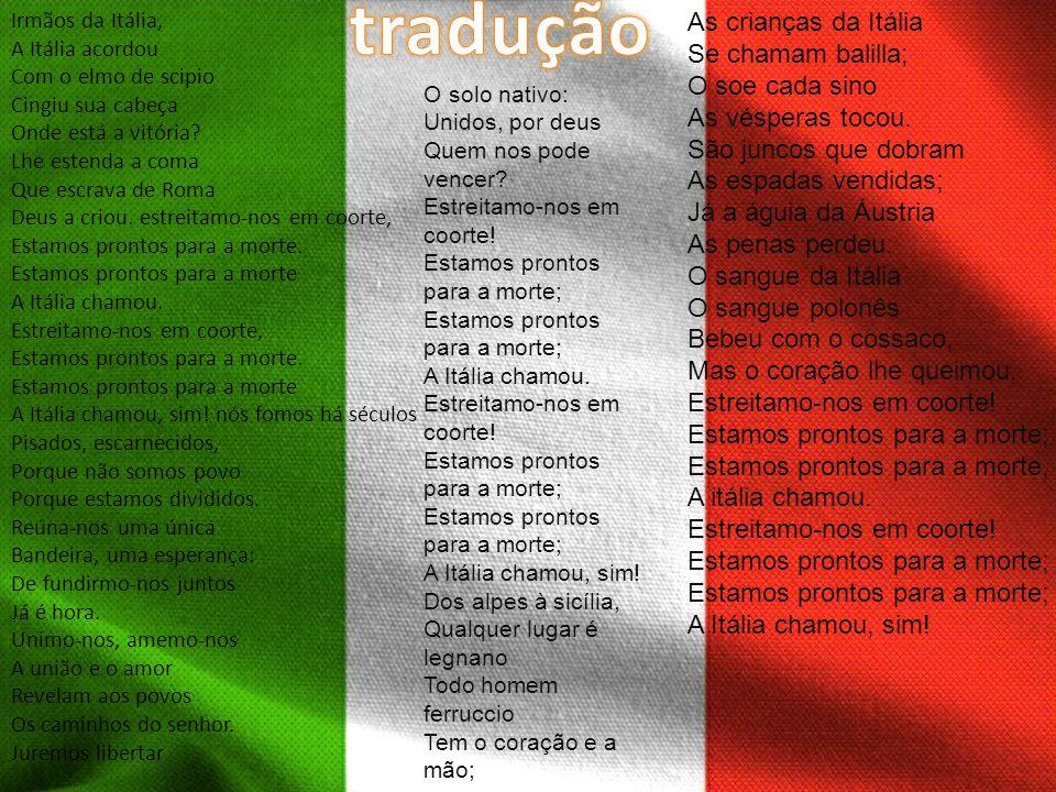 tradução As crianças da Itália Se chamam balilla; O soe cada sino