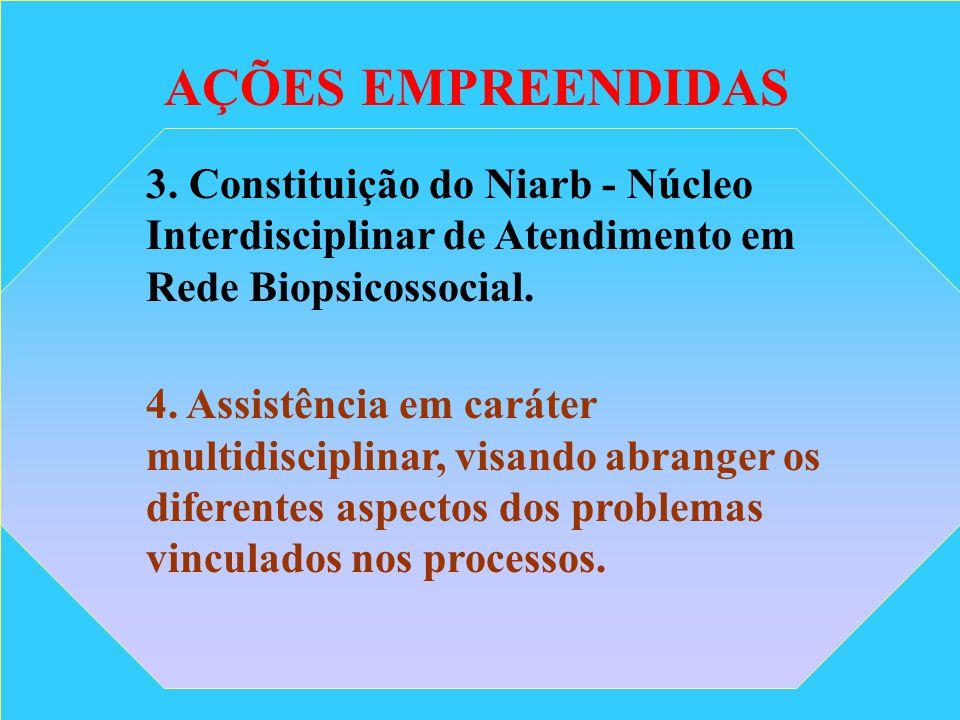 AÇÕES EMPREENDIDAS 3. Constituição do Niarb - Núcleo Interdisciplinar de Atendimento em Rede Biopsicossocial.