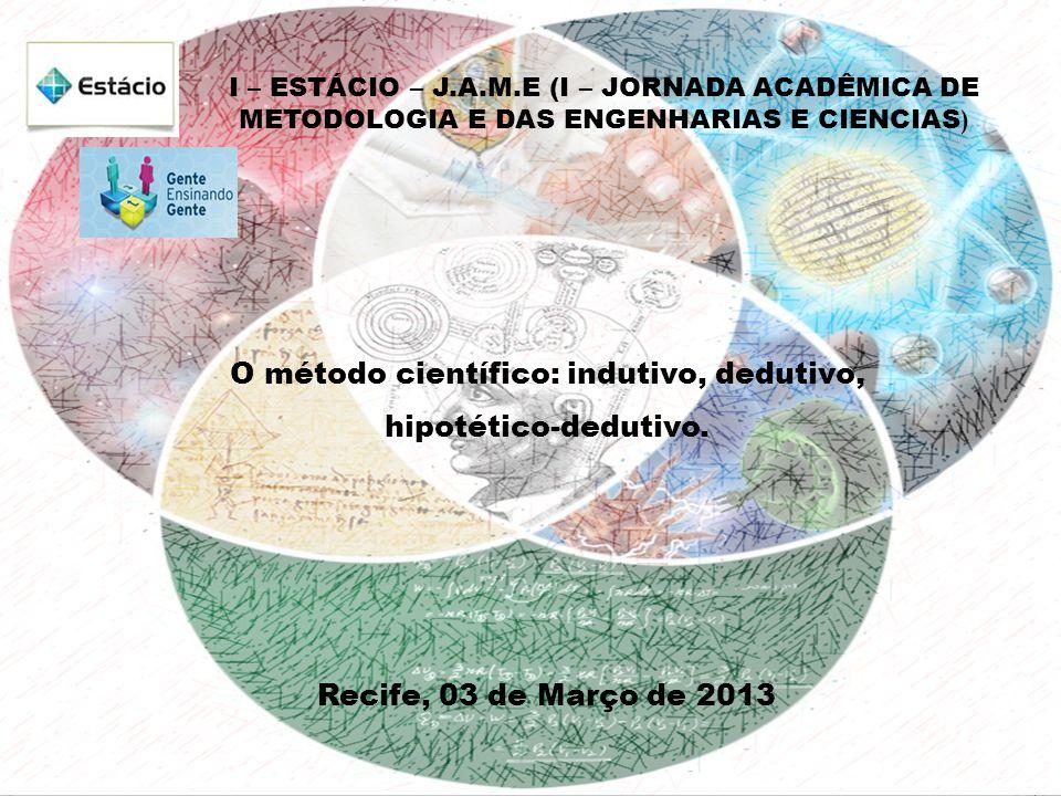 O método científico: indutivo, dedutivo, hipotético-dedutivo.