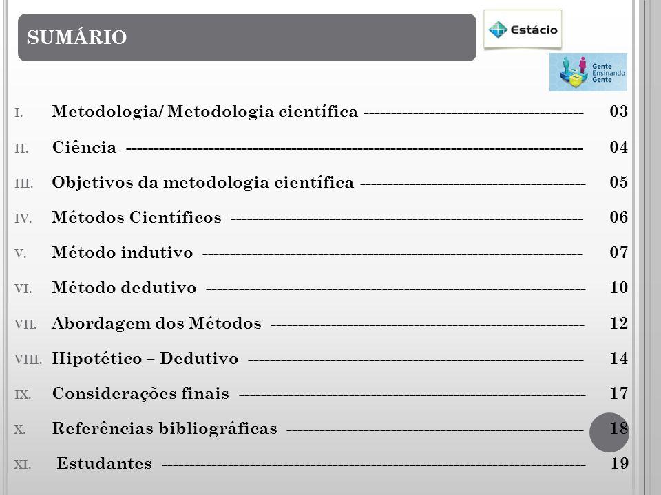SUMÁRIO Metodologia/ Metodologia científica ---------------------------------------- 03.
