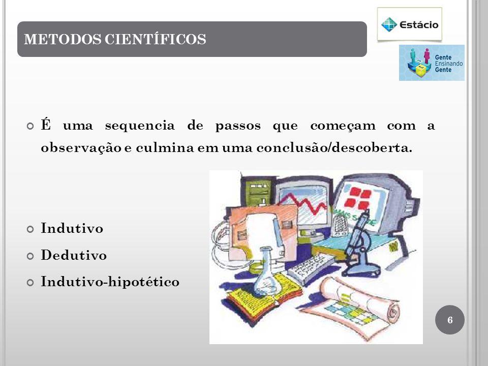 METODOS CIENTÍFICOS É uma sequencia de passos que começam com a observação e culmina em uma conclusão/descoberta.