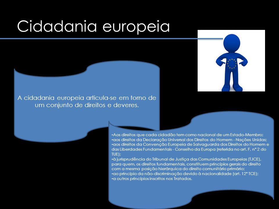 Cidadania europeia A cidadania europeia articula-se em torno de um conjunto de direitos e deveres.