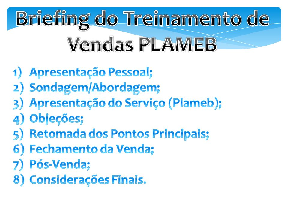 Briefing do Treinamento de Vendas PLAMEB