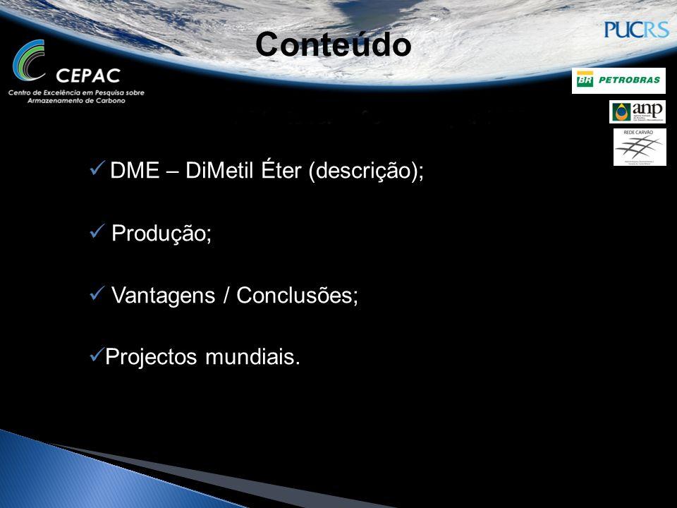 Conteúdo DME – DiMetil Éter (descrição); Produção;