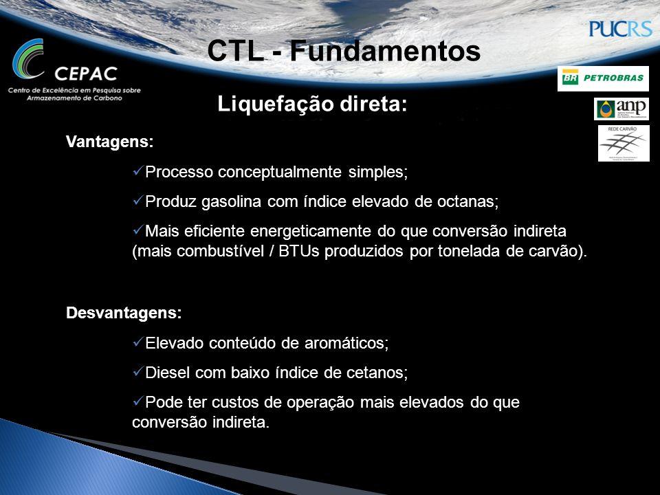 CTL - Fundamentos Liquefação direta: Vantagens: