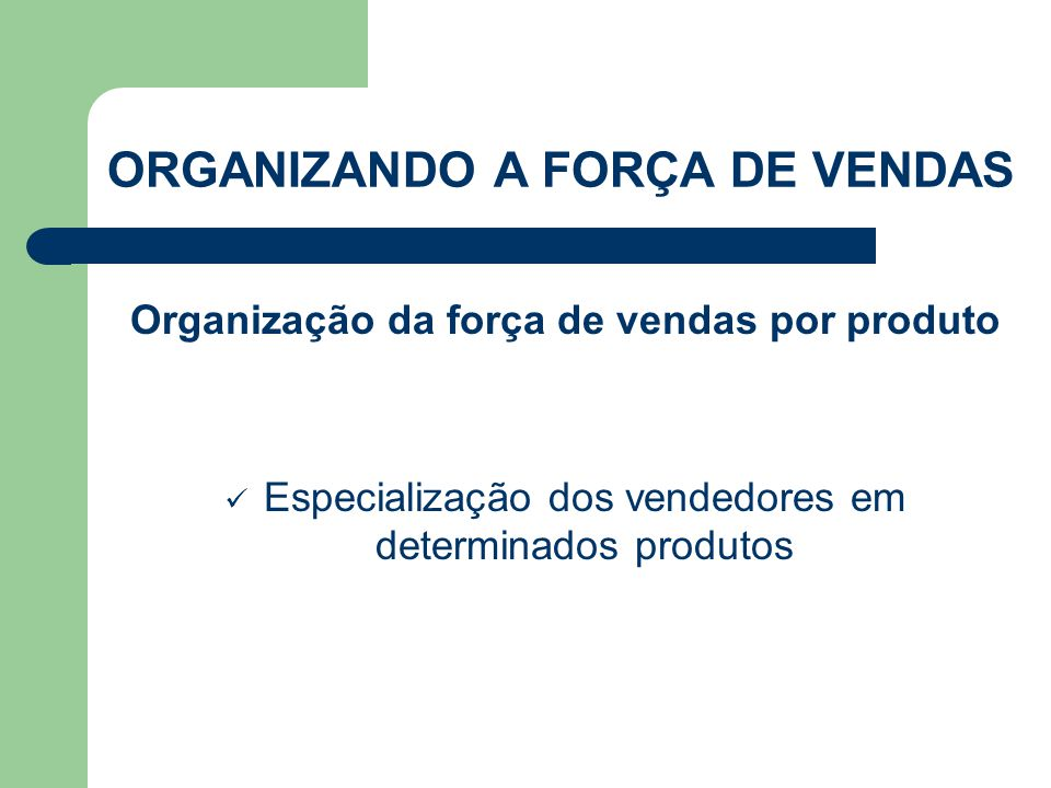 Organização da força de vendas por produto